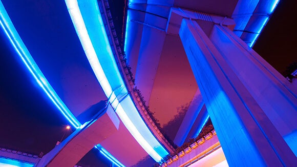 Blue and purple bottom to top architectural shot