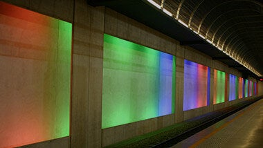 Underground subway with multiple color lighting